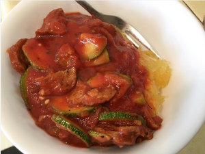 R1D16M2 improvised veggiesketti zucchini sausage tomato sauce over spaghetti squash