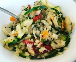 R1D28M3 improvised chicken and veggies over cauliflower rice