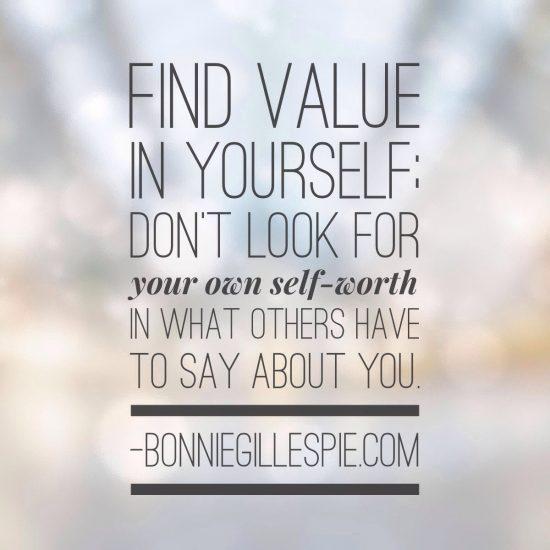 find value in yourself bonnie gillespie