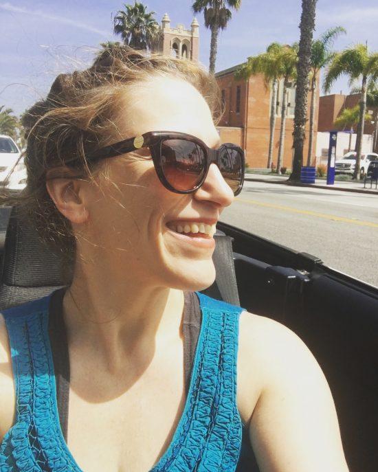 Bonnie Gillespie Driving Home from Pole in the Mazda Miata