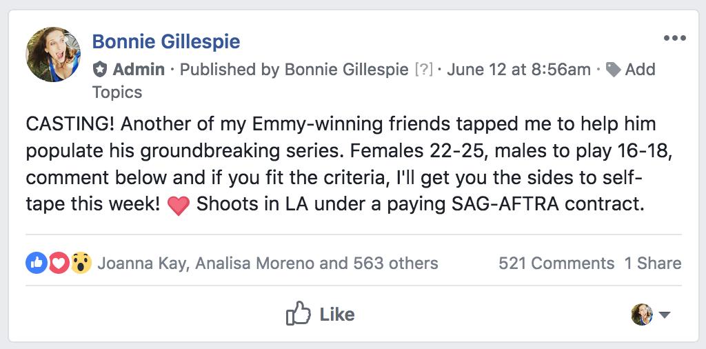 casting favor at fb group bonnie gillespie