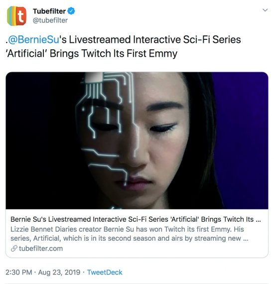 artificial wins twitch its first emmy