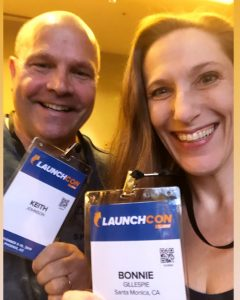 Keith Johnson and Bonnie Gillespie at Jeff Walker's LaunchCon 7 Nov. 2019