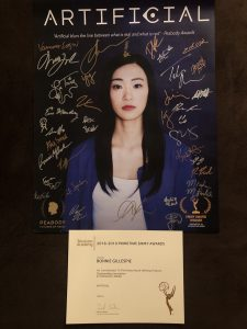 Artificial Autographed Poster and Emmy Certificate
