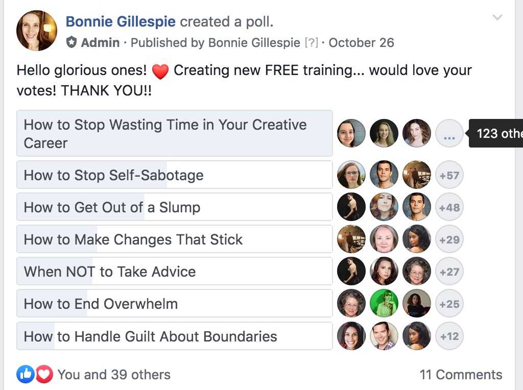 bonnie gillespie free training survey in smfa fb group