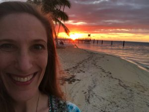 Bonnie Gillespie on Plantation Island in Fiji at Sunset Last Night of UGWA2020
