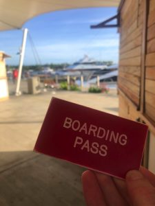 Bonnie Gillespie's Boarding Pass for the Malolo Cat in Fiji for UGWA2020