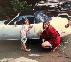 bonnie and tiffany gillespie washing the miata tictac 1989
