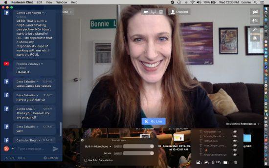 Bonnie Gillespie using Restream to livestream April 2019