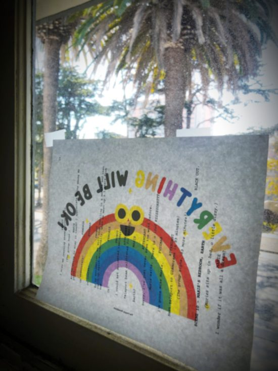 Window Sign Everything Will Be Okay Rainbow on Script Page by Bonnie Gillespie