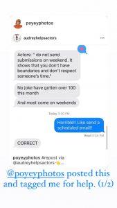 vanie poyey audrey helps actors agent email bullshit